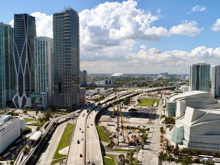 Aerial view of the Miami Signature Bridge