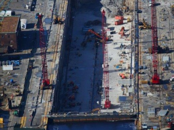 Aerial view of the dewatering at Dry Dock #8.