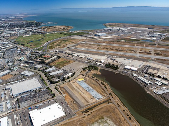 An aerial view of Port of Oakland